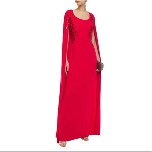NWT MARCHESA NOTTE Red Cape Gown Evening  Dress
